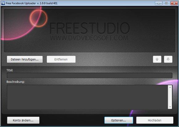 Free Uploader for Facebook Hauptbildschirm