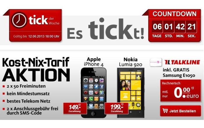 iPhone 4 8 GB für 149,00 Euro rechnerisch ohne zusätzliche Vertragskosten bei handytick