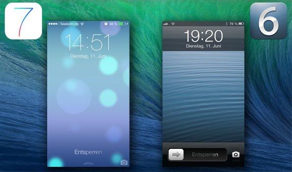 Lockscreen iOS 6 vs iOS 7