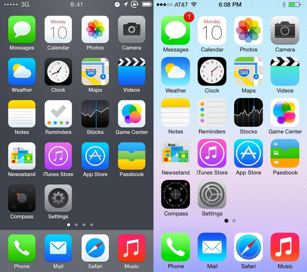iOS 7 Redesign vs. aktuelles Icon-Design von iOS 7 Beta 1