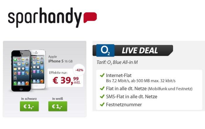 iPhone 5 mit Allnet-Flat für 39,99 Euro monatlich