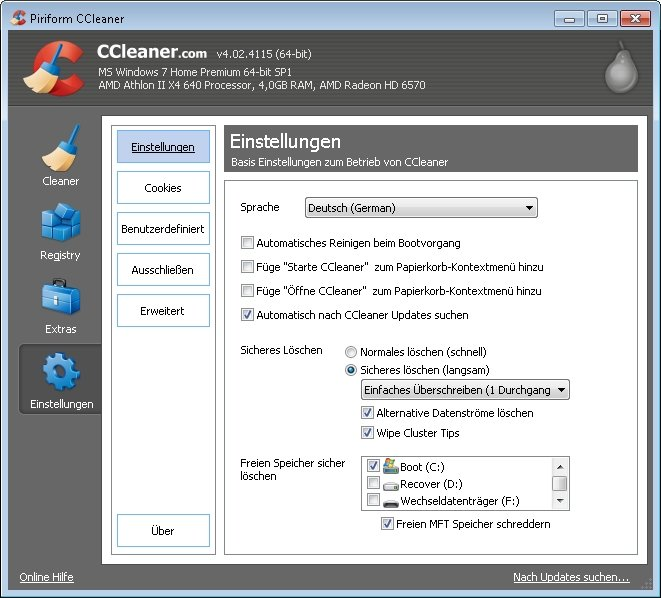 ccleaner festplatte reinigen