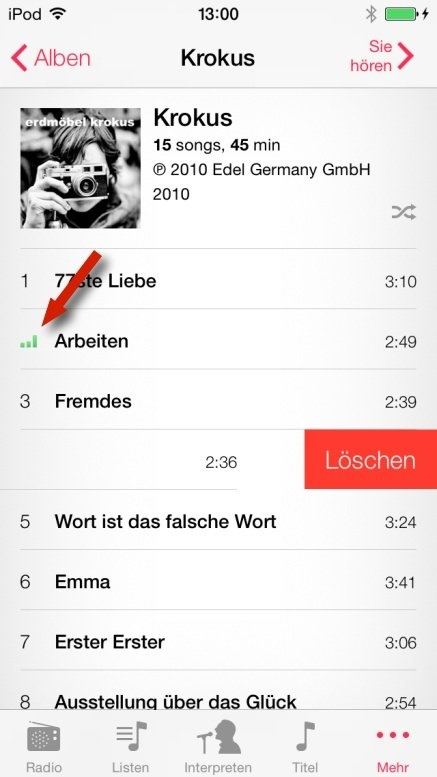 Ansicht eines Albums in iOS 7