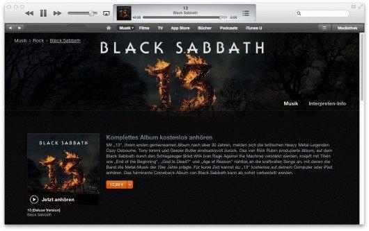 """Kostenloser iTunes-Stream: """"13"""" von Black Sabbath"""
