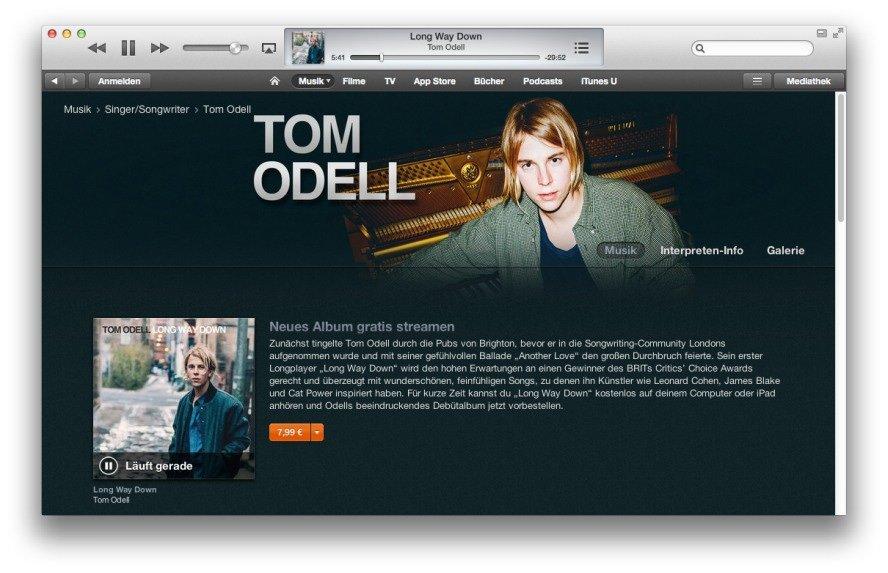 iTunes-Stream: Tom Odells neues Songwriter-Album kostenlos anhören