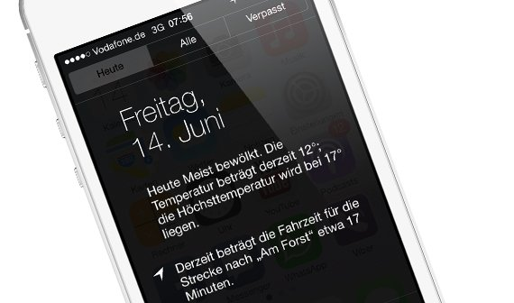 iOS 7 Mitteilungszentrale: Ich weiß, wohin du heute fährst