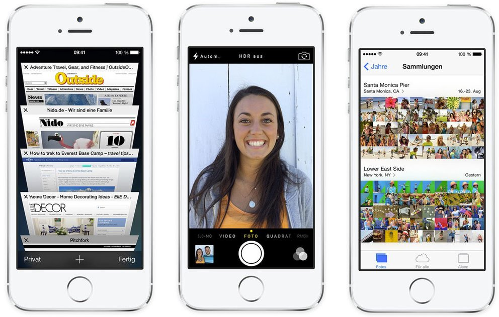 iOS 7: Mobile Safari - Kamera-App - Fotos-App
