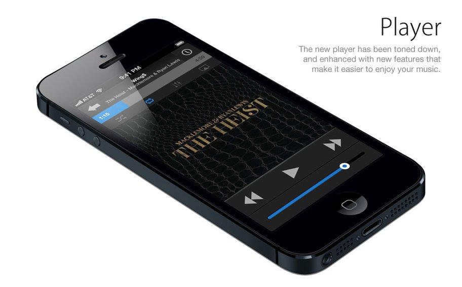 Designstudie für neue Musik-App in iOS 7