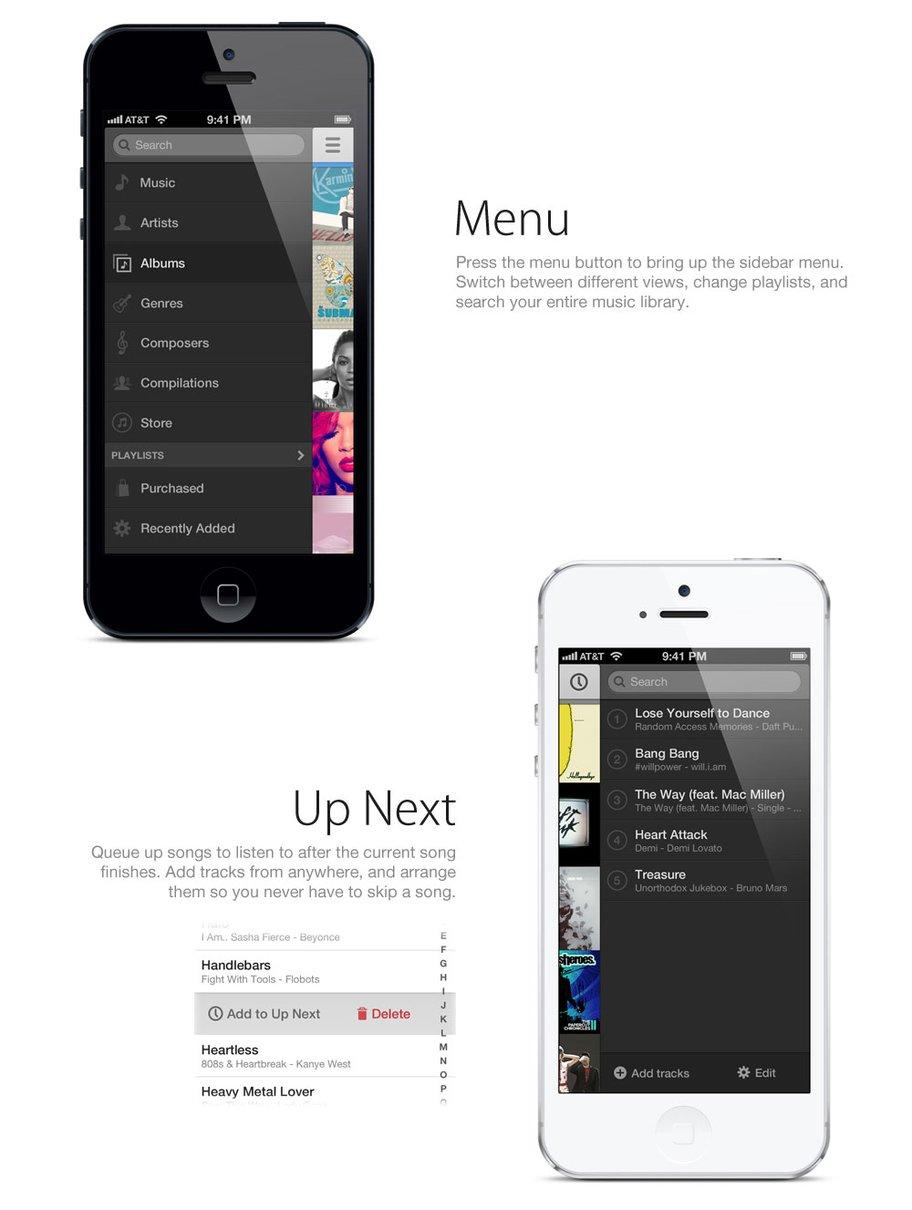 Designstudie für neue Musik-App in iOS 7 - Navigation und Menüführung