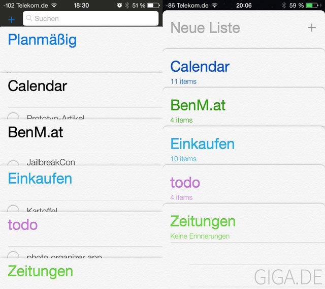 iOS 7 Beta 2: Neue Erinnerungen-App (rechts)