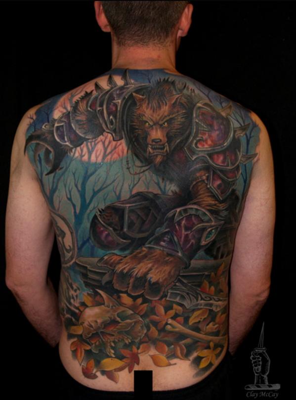 Волк в доспехах тату
