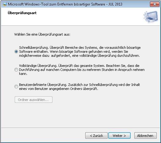 MS Tool zum Entfernen bösartiger Software