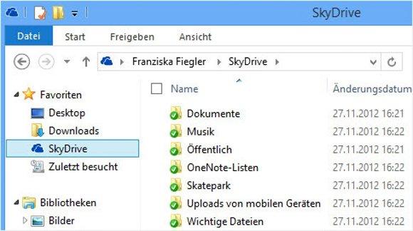 Microsoft SkyDrive 2013 Ordner