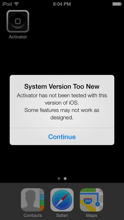 Activator unter iOS 7 installiert
