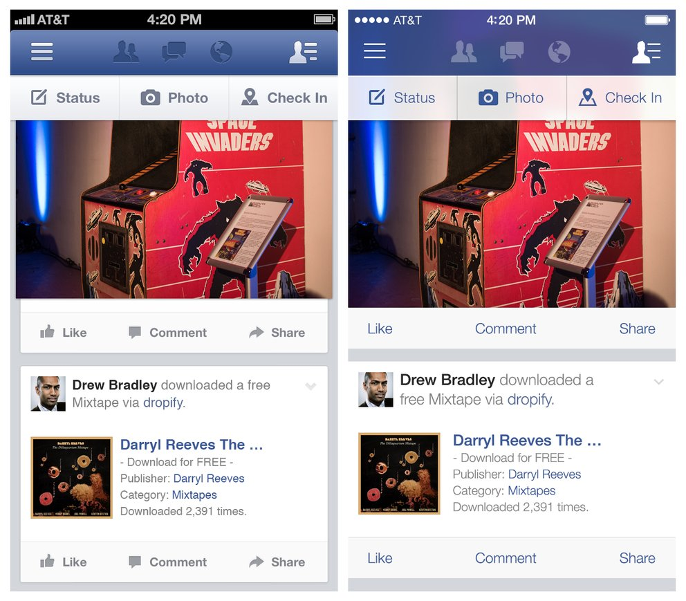 Facebook iOS 7 Vergleich