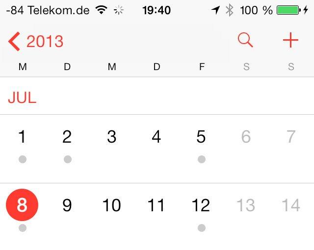 iOS 7 Beta 3: Kalender