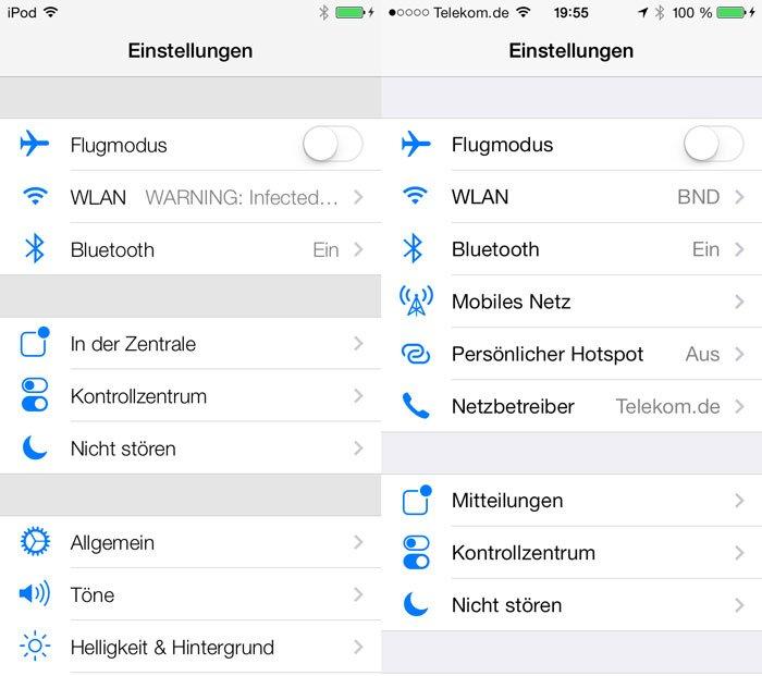 iOS 7 Beta 3: Neuer Schriftschnitt - links iOS7b1 und rechts iOS7b3