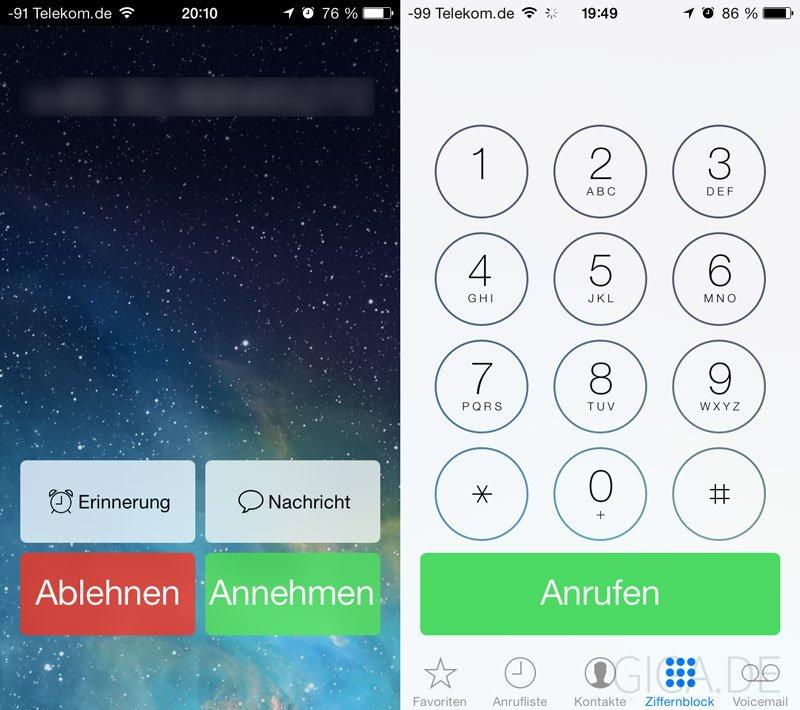 iOS 7 Beta 4 - überarbeitete Telefon-App