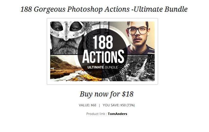 188 Gorgeous Photoshop Actions -Ultimate Bundle für ca. 14 Euro