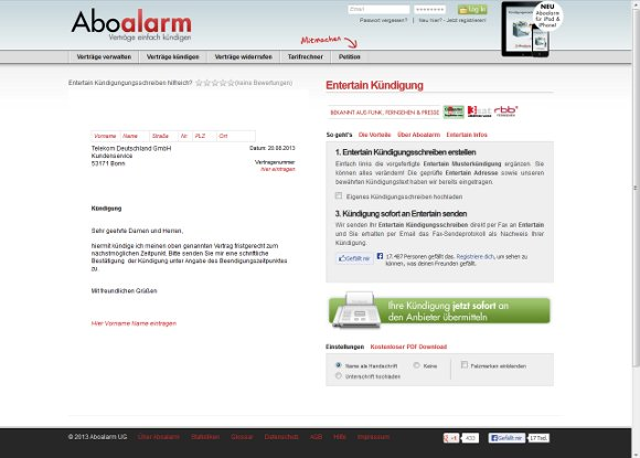 Kündigung Telekom Entertain Vorlage