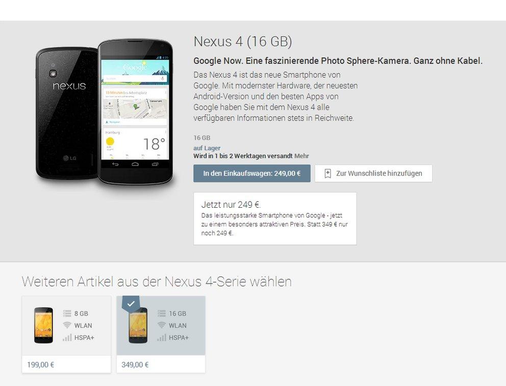 Nexus 4: Google senkt Preise um 100€, 16GB-Version für 249€