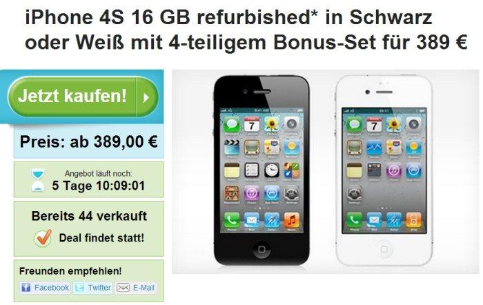 iPhone 4S 16 GB refurbished für 389 Euro bei Groupon