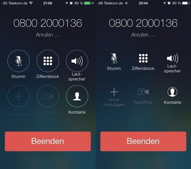 Neue Icon-Design in der Telefon-App - Beta 5 vs Beta 4