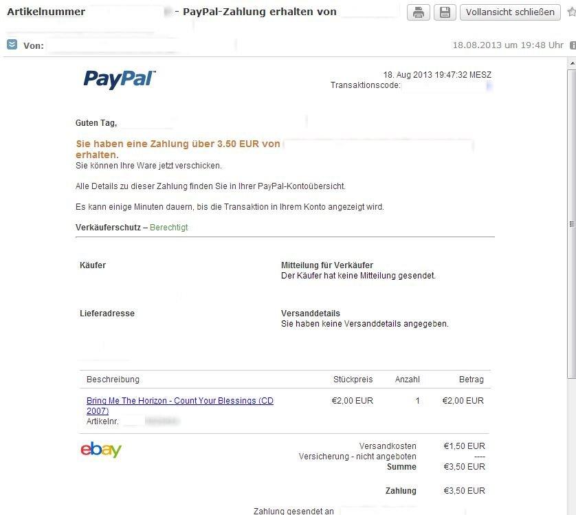 Zahlung Auf Paypal Konto