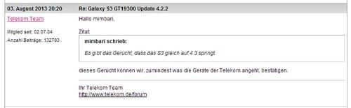 Samsungt Galaxy S3: Direktes Update auf Android 4.3 - Bestätigung des Telekom-Teams