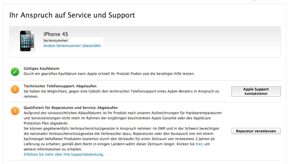 Apple service hotline