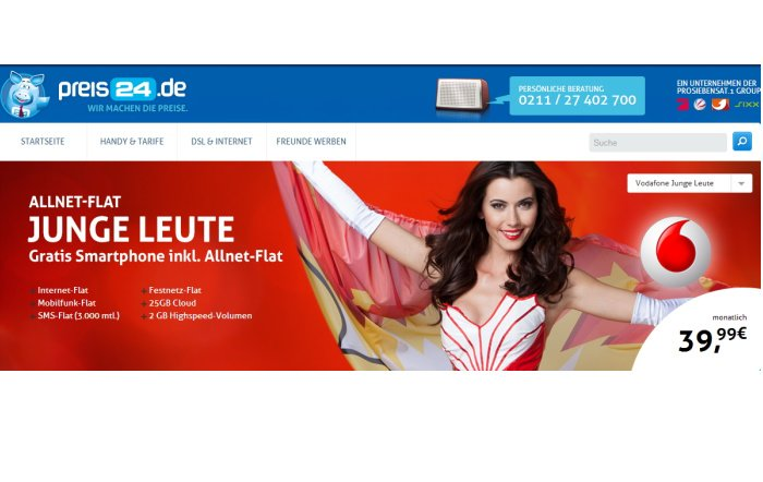 Vodafone Allnet-Flat für junge Leute für 39,99 Euro pro Monat