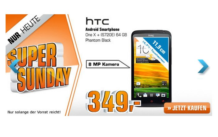 HTC One X+ Black 64GB für 349,00 Euro im Super Sunday