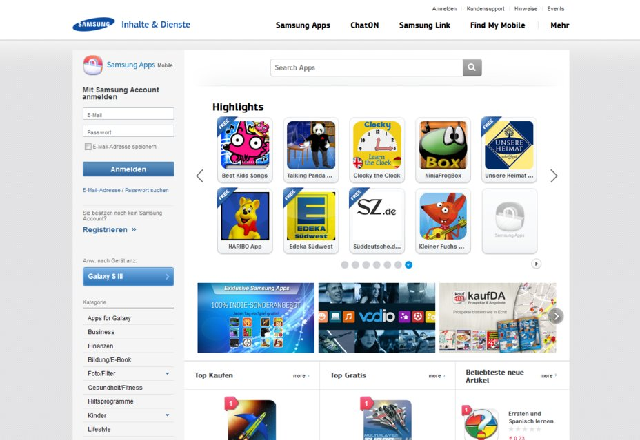 samsung apps homepage