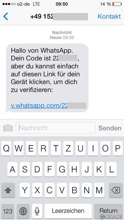 WhatsApp-Nummer-SMS-Code