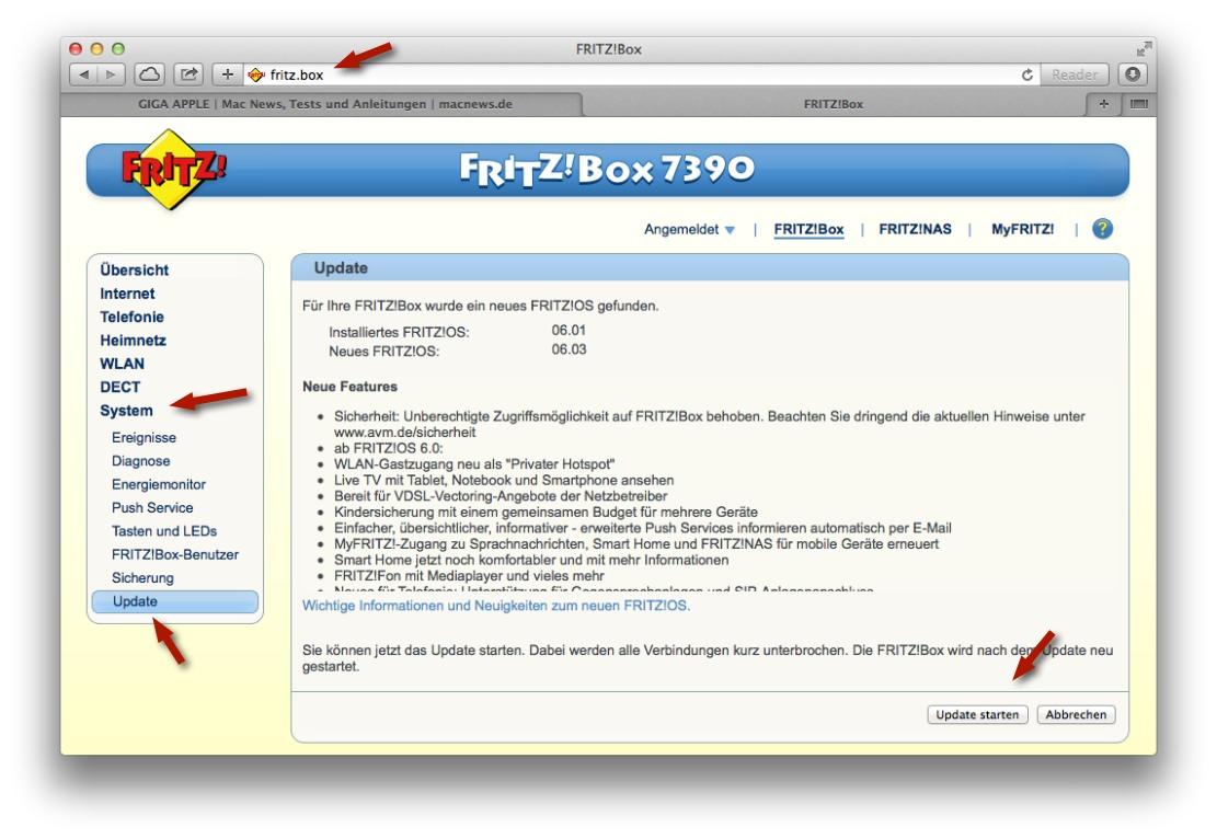 fritz!box-einstellungen aufrufen und update installieren – so
