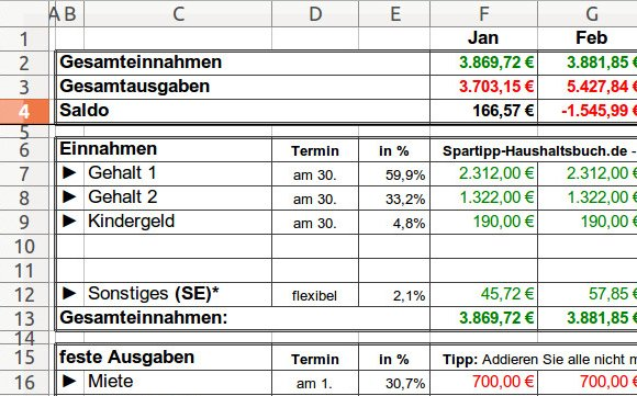 Excel-Haushaltsbuch
