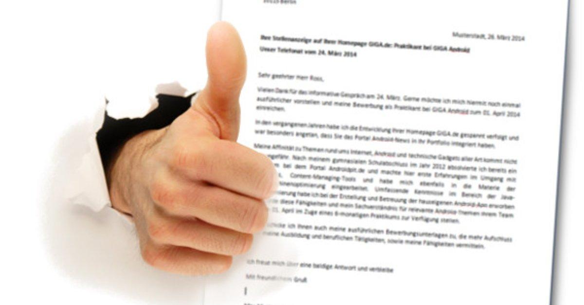 Bewerbungsschreiben: Muster In Word Benutzen Und Gut Ankommen – Giga
