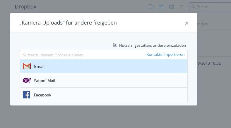 dropbox: ordner freigeben für andere user – giga, Einladungen