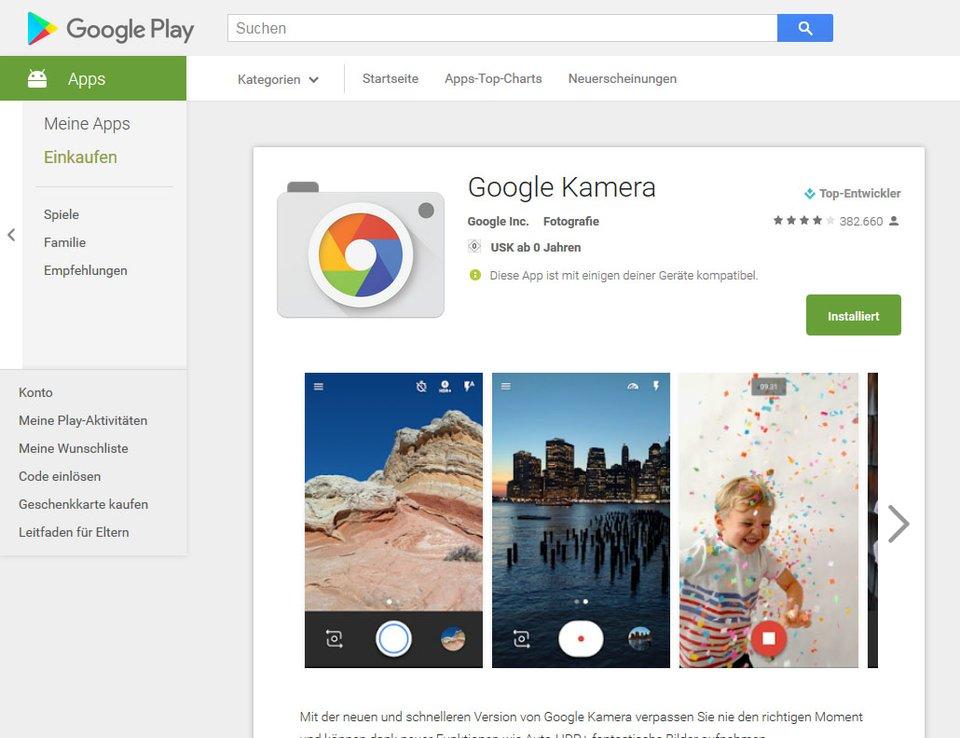 Google Camera: Die zugehörige Play Store Seite wird nur angezeigt, wenn die App bereits installiert ist.