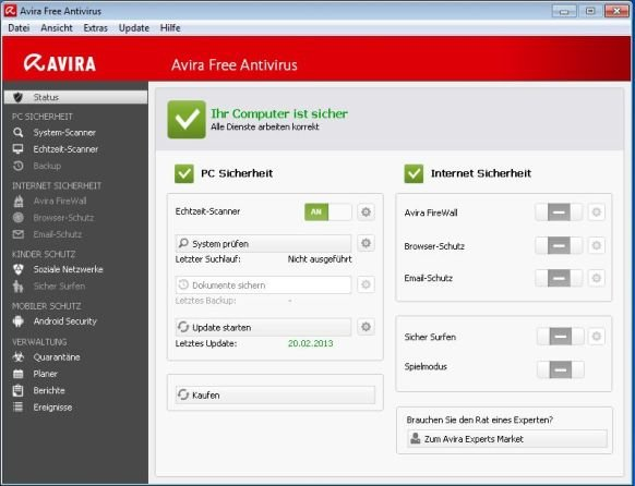 Avira Free Antivirus: Hier startet ihr den Luke Filewalker.