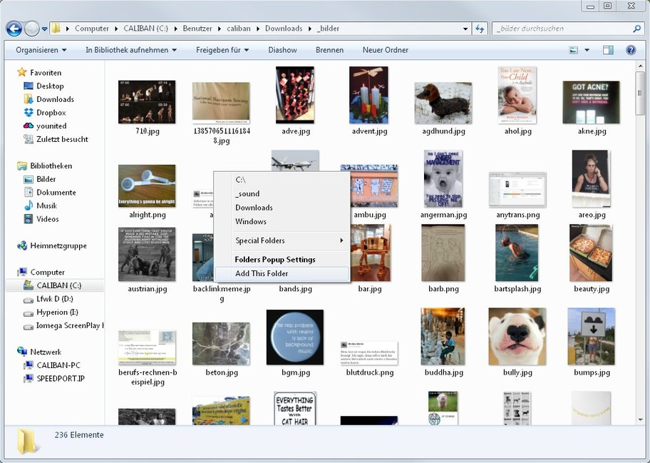 Folders Popup erzeugt und verwaltet Schnellklick-Hotkeys für ausgewählte Verzeichnisse