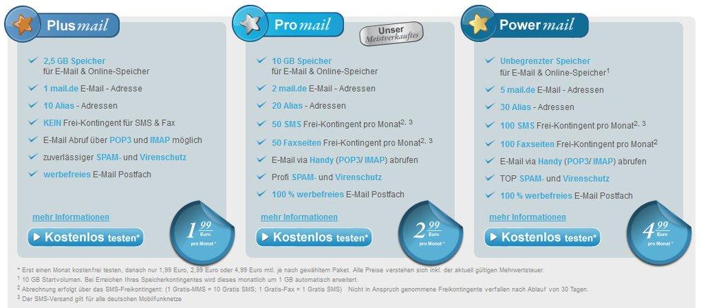 mail.de: Alle Angebote könnt ihr jetzt einen Monat kostenlos testen
