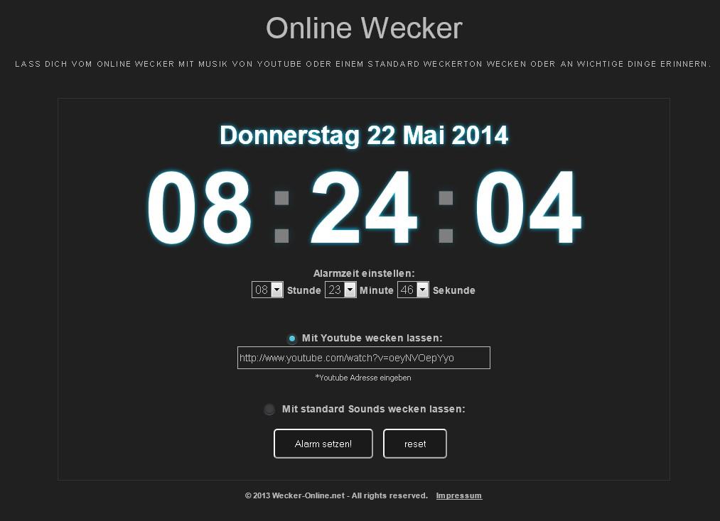 Online wecker youtube