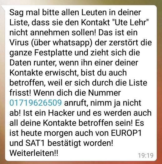 Ute Lehr WhatsApp Warnung