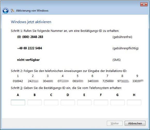 Windows-Aktivierung per Telefon: Den Code der Blöcke 1 bis 9 gebt ihr per Telefon durch. Den erhaltenen Code gebt ihr bei A bis H ein.