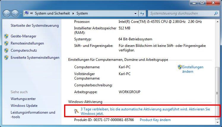 Hier könnt ihr Windows 7 aktivieren.