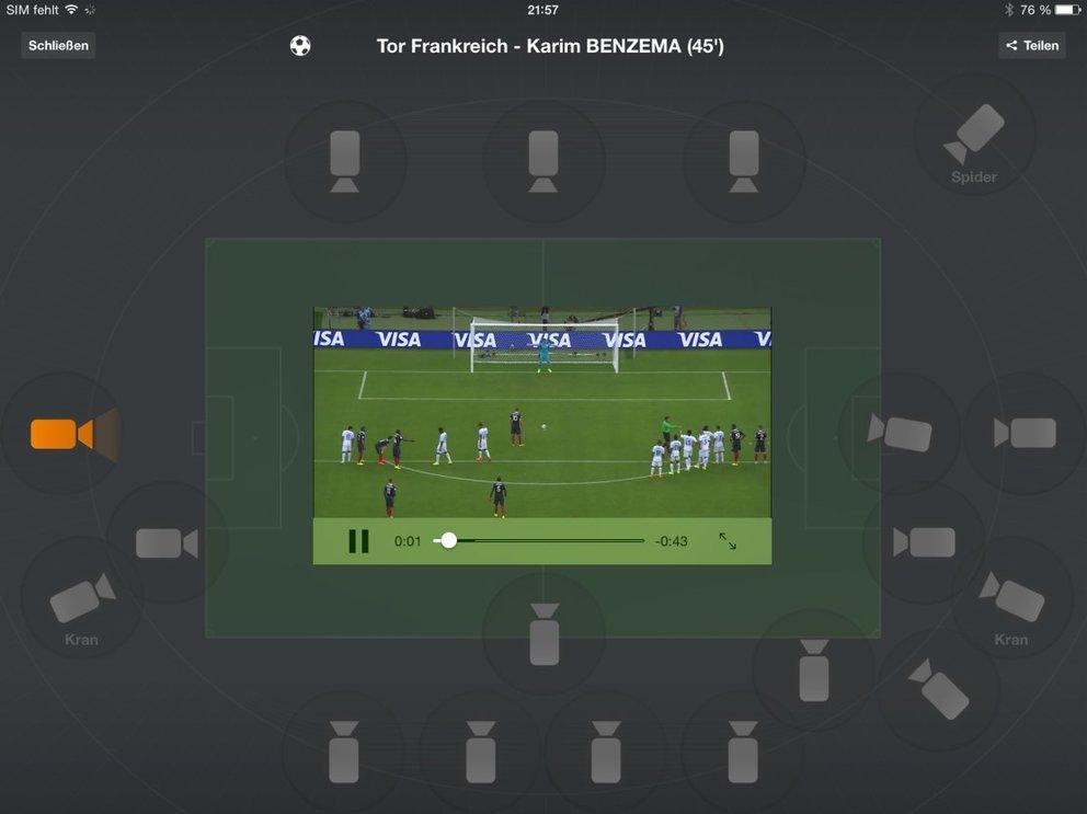 Wow: Von Highlights lässt sich die gewünschte Kamera auswählen (hier: ZDF)