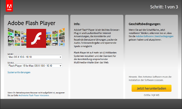 Installateur Flash Player nichts