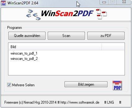 WinScan2PDF kann mehrseitige Dokumente in einem PDF vereinigen