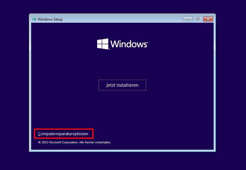 Über das Windows-Setup ruft ihr die Computerreparaturoptionen auf.